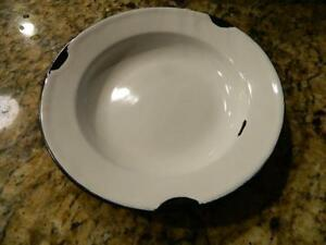 French Country ENAMELWARE SOUP PLATE Distressed Holder Primitive Country