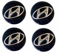 4x 59mm Hyundai Nabendeckel Felgendeckel Nabenkappe Schwarz Alufelgen Radmitte