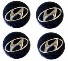 4x-59mm-Hyundai-Nabendeckel-Felgendeckel-Nabenkappe Schwarz Sonata Santa Tucson