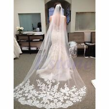 White Beautiful Layer Cathedral Length Lace Edge Wedding Bridal Veil With Comb