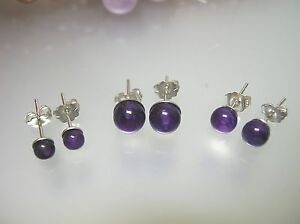 Vintage nature clear purple Amethyst round ball stud 925 silver earring-4,5,6mm