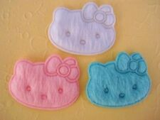 60 Padded Felt Kitty Bow Applique Pink White Blue/baby/Hello/Trim/Sewing/sew L26