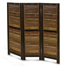 MAYO TRI-FOLD ROOM DIVIDERS - DISTRESSED NATURAL / BLACK - SOLID MANGO WOOD