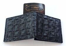 Genuine Real Bone Crocodile Alligator Skin Leather Man Bifold Black Wallet New