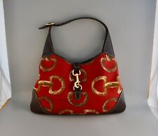 VTG RARE GUCCI PURSE - JACKIE HOBO BAG - RED GOLD HORSEBIT BUCKLE PRINT CANVAS