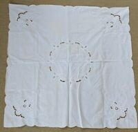 """Vintage White Table Topper Tablecloth Scalloped Hem Cut Outs 32"""" X 31"""""""