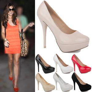 New Ladies Womens High Stiletto Platform Heel Pumps Wedding Court Shoes Size
