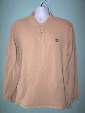 TIMBERLAND Mens Long Sleeve Light Sand Color Thicker Polo T Shirt Size XL