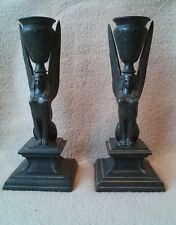 Antique Egyptian Revival style bronze bronzés METAL CANDLESTICKS chandeliers