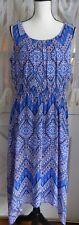 NEW AB STUDIO Women MAXI DRESS ELASTIC WAIST Blue Multi Color SLEEVELESS  L $69