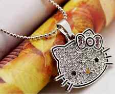 Adorable Kitten Silver *Hello Kitty* Big Face Cat Pendant Chain Necklace