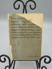 1909 Press Cuttings Papers By Bernard Shaw Royal Court Theatre 1St Ed bk1761