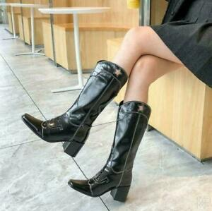 Women's Western Boots Patent Leather Shoes Knee High Heels Knight Boots Black 9