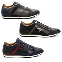 Scarpe Sneakers Pelle Uomo Pantofola d'Oro Shoes Men Matera Low blu grigio 10183