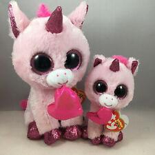 Set of 2 TY Beanie Boos DARLING (Sm & Med) 2020 Valentines Unicorn Plush MWMTs