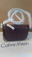 New Dkny Tilly Debossed Logo Flap Crossbody Shoulder bag Cordovan R74EZ060
