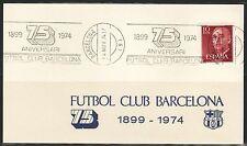 TARJETA FUTBOL CLUB BARCELONA 75 ANIVERSARIO 1899-1974