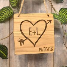 Hanging Wooden Carved Valentines Love Plaque Rustic Tree Carving Arrow Heart