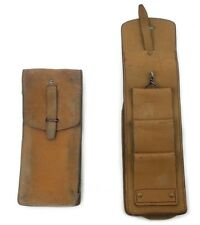 """VINTAGE 1950s TAN LEATHER  BELT POUCH 10"""" LONG MAGAZINE AMMO FRENCH ARMY"""
