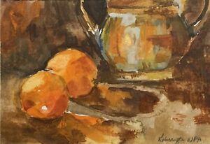 Harrington, WPA  Original Whiskey Painting Oranges And Copper