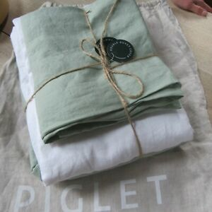 Piglet in Bed 100% Washed French Flax Linen SAGE GREEN Double Bed Set.