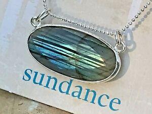 "NEW $128 Sundance Revers. 18"" Labradorite Sterling Silver Pendant Chain Necklace"