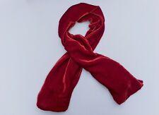 """Silk Velvet Scarf in CHRISTMAS RED Handmade 12x42"""""""