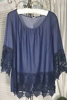 NEW Plus Size 1X Blue Denim Lace Crochet Peasant Top Boho Blouse Shirt