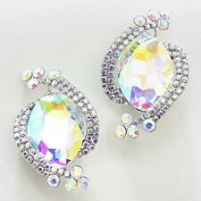 "1.25"" Silver Toned AB Rhinestone Clip-On Earrings"