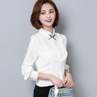 New Elegant Womens Ladies Lace Shirt Long Sleeve Slim Career Chiffon Tops Blouse