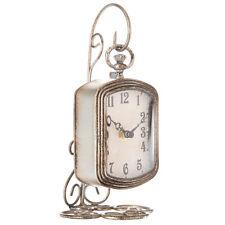 Pocket Watch Table Clock Rustic Style Silver Metal w/ Plastic Scroll Back Decor