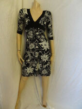 (332dec) Size 8 * JANE NORMAN * Chic Black Print Jersey Dress Dames/Womens