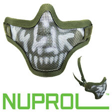 Nuprol Green Skull Mesh Face Mask Airsoft MILSIM Protection BB FREE UK DELIVERY