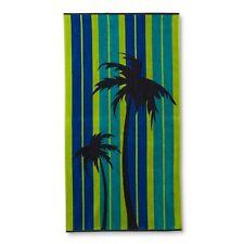 "Colormate Blue & Green Stripes & Palm Trees Jacquard Beach Towel, 34""x64"""