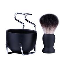 Shaving Kit 3Pcs Shave Badger Brush Hold Stainless Steel Bowl Mug Gift Set Beard