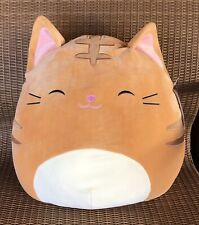 "SQUISHMALLOW KELLYTOY JUMBO 16"" NATHAN THE GOLDEN BROWN TABBY CAT SUPER SOFT NWT"