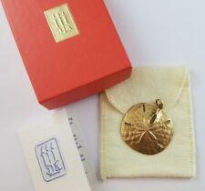 "1.4"" James Avery 14k Yellow Gold Sand Dollar Pendant Uncut Ring Box Bag & Insert"