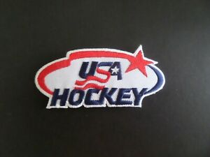 """USA HOCKEY"""" RED & BLUE & WHITE EMBROIDERED IRON ON PATCHES 1-1/2 X 3-1/2 NEW"""