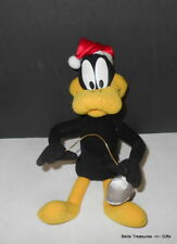 Authentic Warner Bros. Daffy Duck Stuffed Plush Cartoon Character with Santa Hat