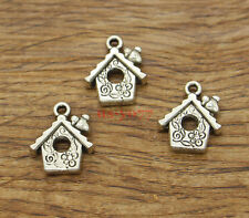 20pcs House Charms Bird House Charms Antique Silver Tone 17x15mm 1603