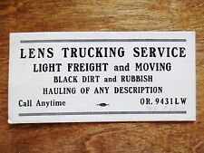 1940s LENS Trucking Service Moving Hauling Freight Advertising Blotter OR Used