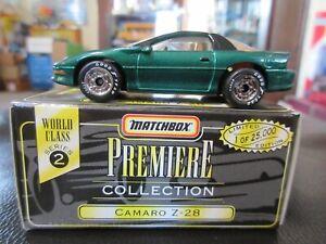 Matchbox Chevy Camaro Z-28 GREEN Premiere World Class 5 Series 1:64 scale