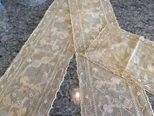 VTG HAND ECRU EMBROIDERED HARDANGER TABLE RUNNER & DOILY GORGEOUS!