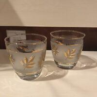 Vintage MCM Libbey Gold Leaf Glasses Set Of 2