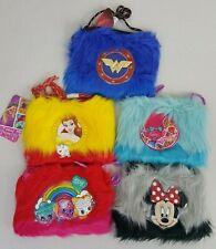 Girls Purse Wallet Mini Mouse Princess Bell Trolls Wonder Woman Shopkin's Fur