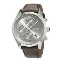 100% New Hugo Boss 1513476 Grand Prix Brown Leather Silver Dial Men's Watch 44mm