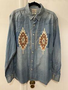 Lucky Brand Light Blue Denim Chimayo Design Western Dress Shirt Mens Large