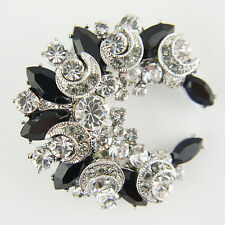 14k white Gold GF brilliant black brooch pin with Swarovski crystals elements