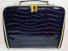 Estée Lauder Cosmetic Makeup Train Case Faux Crocodile Leather Navy Blue