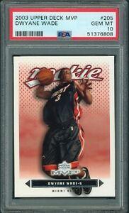 2003-04 Upper Deck MVP #205 Dwyane Wade Miami Heat RC Rookie PSA 10